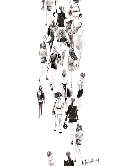 fashion illustration of city girls